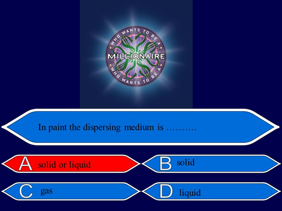liquid In paint the dispersing medium is ………. solid or liquid solid gas