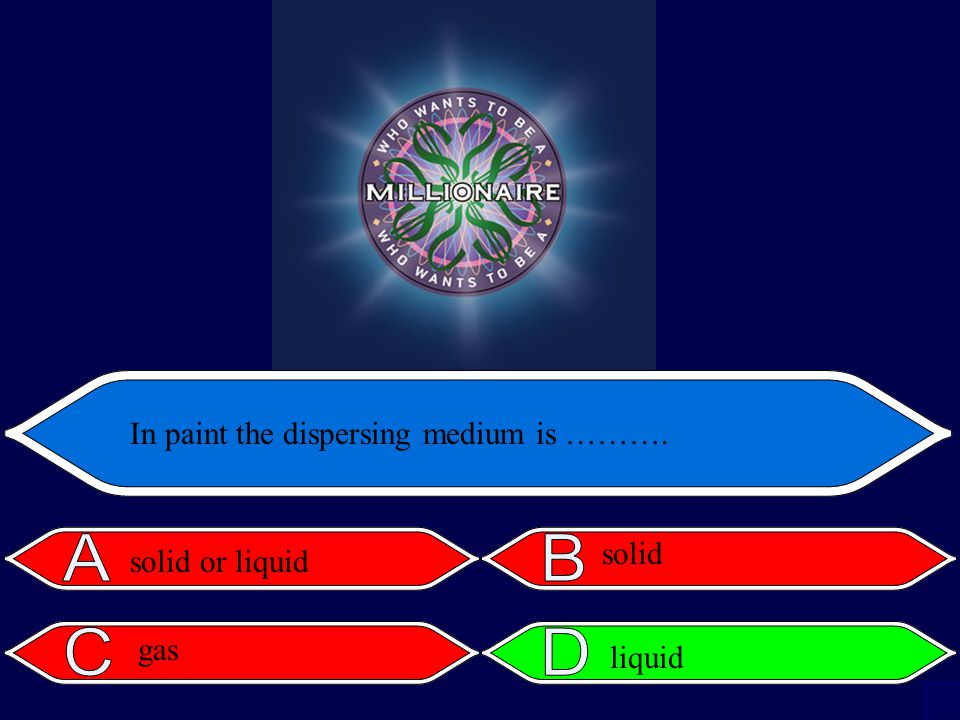 In paint the dispersing medium is ………. solid or liquid gas solid liquid