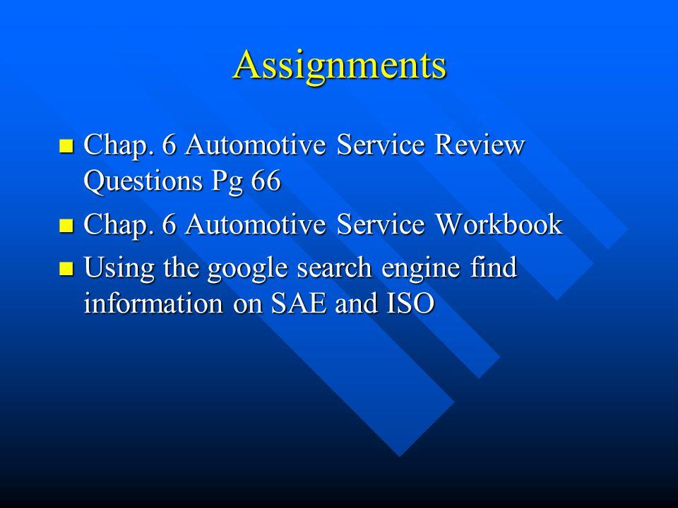 Assignments Chap. 6 Automotive Service Review Questions Pg 66 Chap. 6 Automotive Service Review Questions Pg 66 Chap. 6 Automotive Service Workbook Ch