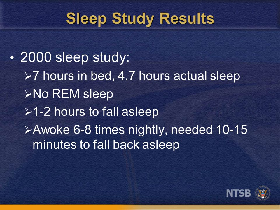 Sleep Study Results 2000 sleep study:  7 hours in bed, 4.7 hours actual sleep  No REM sleep  1-2 hours to fall asleep  Awoke 6-8 times nightly, needed 10-15 minutes to fall back asleep