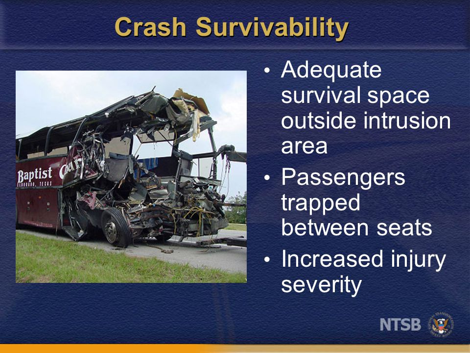 Crash Survivability Adequate survival space outside intrusion area Passengers trapped between seats Increased injury severity