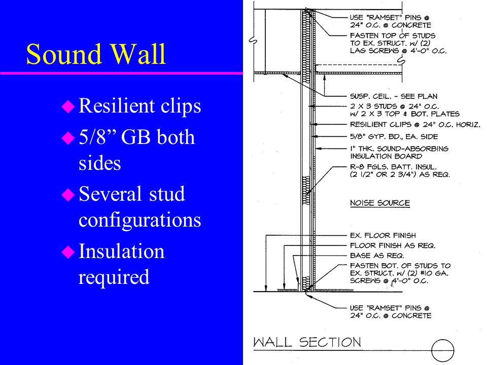 Sound Wall u Resilient clips u 5/8 GB both sides u Several stud configurations u Insulation required