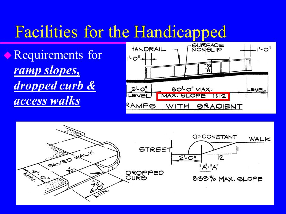 Facilities for the Handicapped u Requirements for ramp slopes, dropped curb & access walks
