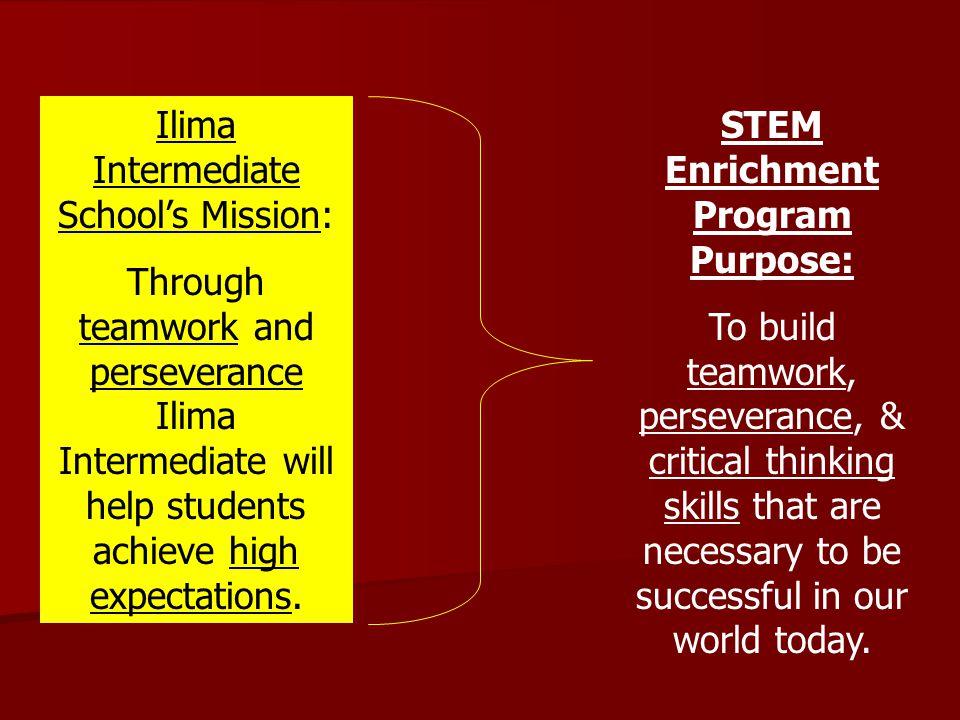 Ilima Intermediate School's Mission: Through teamwork and perseverance Ilima Intermediate will help students achieve high expectations. STEM Enrichmen