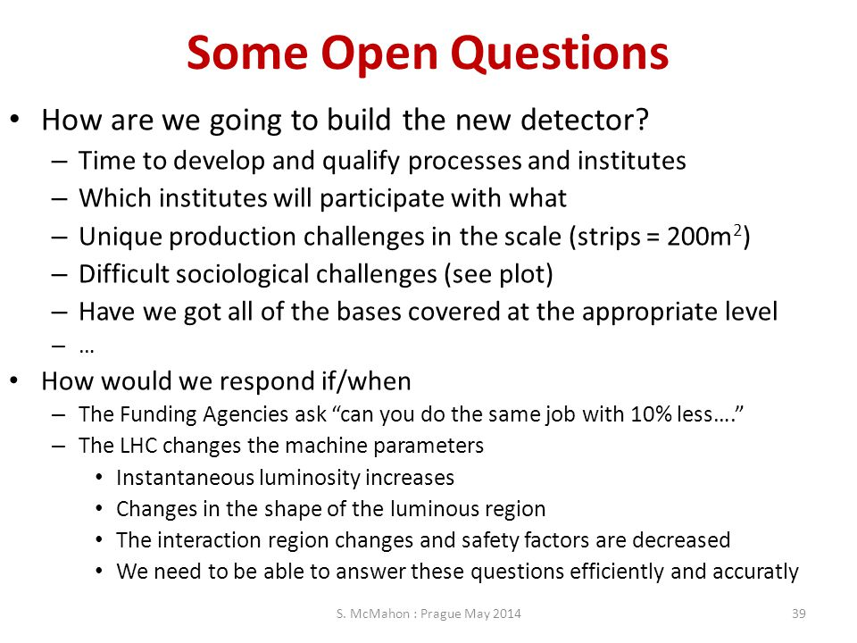 Some Open Questions How are we going to build the new detector? – Time to develop and qualify processes and institutes – Which institutes will partici