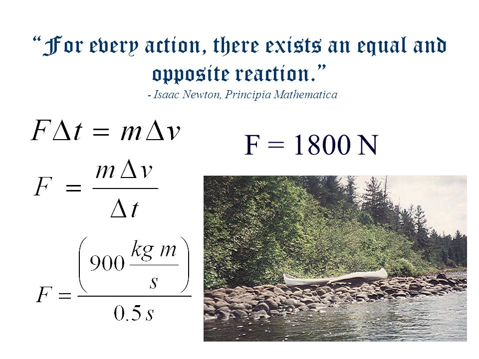 For every action, there exists an equal and opposite reaction. - Isaac Newton, Principia Mathematica  p = m  v  p = (150 kg)(6 m/s)  p = 900 kg m/s -5 m/s 1 m/s