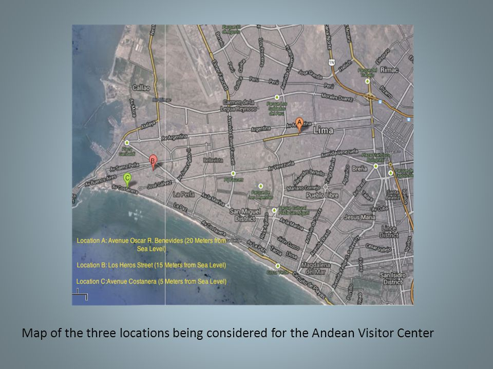 Map of the three locations being considered for the Andean Visitor Center