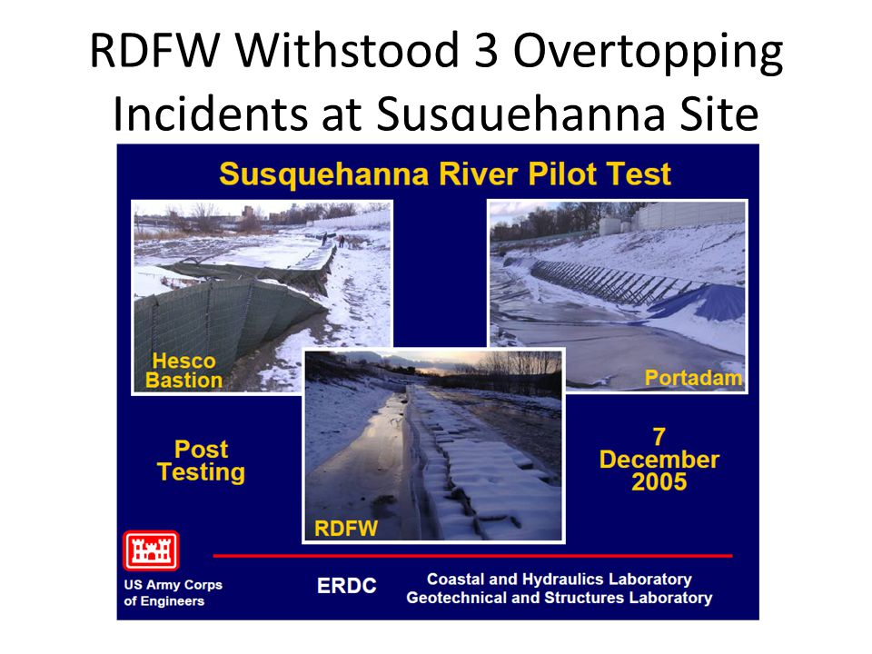 RDFW Withstood 3 Overtopping Incidents at Susquehanna Site