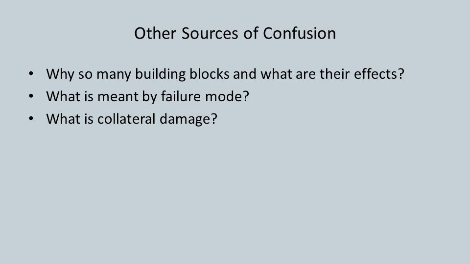 Other Sources of Confusion Why so many building blocks and what are their effects.