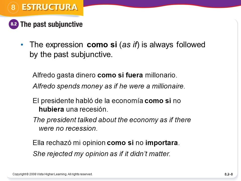 Copyright © 2008 Vista Higher Learning. All rights reserved. 8.2–8 The expression como si (as if) is always followed by the past subjunctive. Alfredo