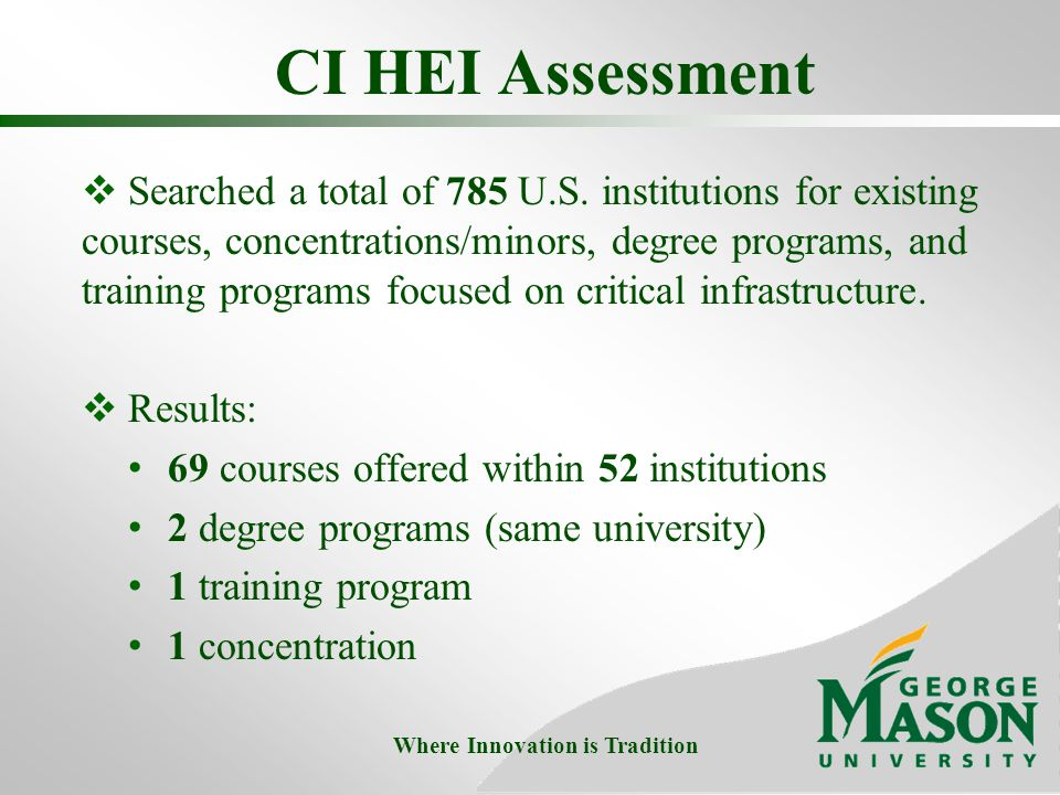 CI HEI Assessment  Searched a total of 785 U.S.