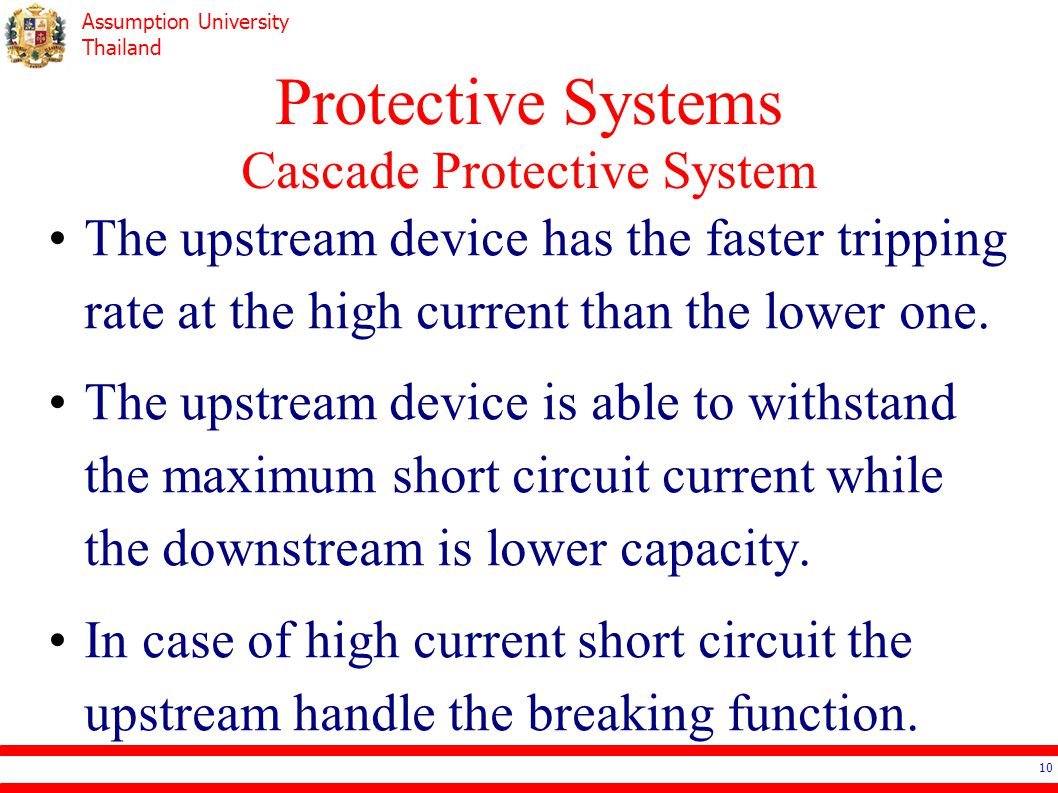 Assumption University Thailand Protective Systems Cascade Protective System The upstream device has the faster tripping rate at the high current than
