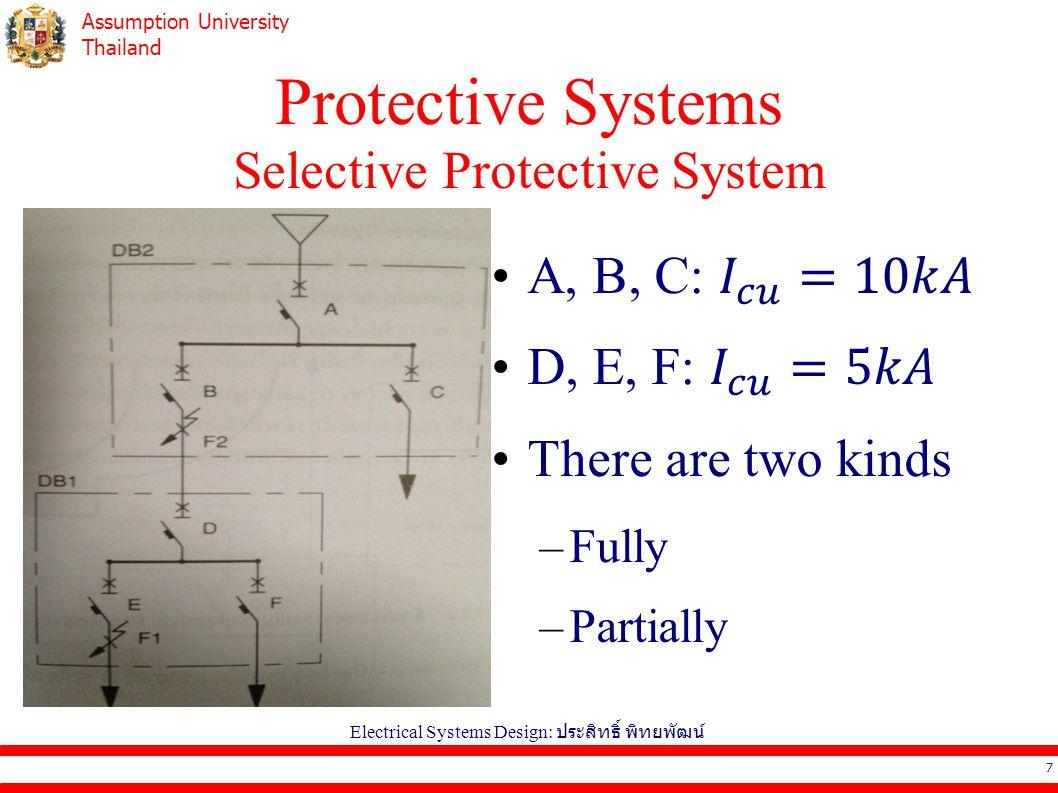 Assumption University Thailand Protective Systems Selective Protective System 7 Electrical Systems Design: ประสิทธิ์ พิทยพัฒน์