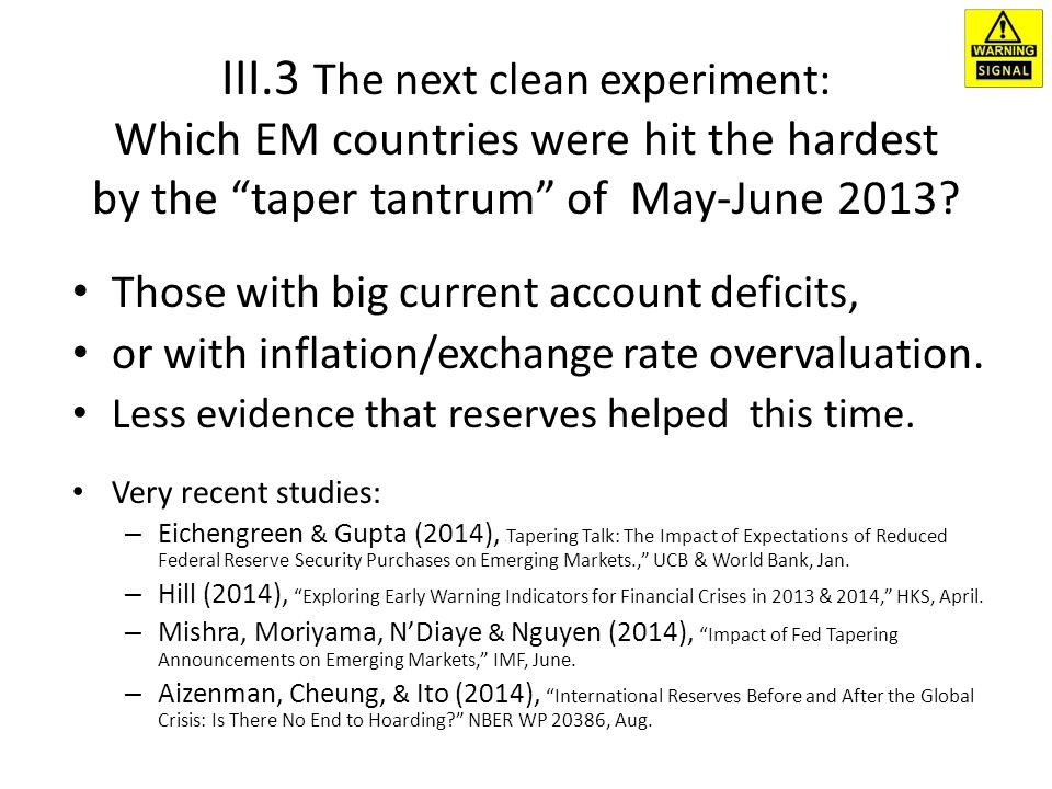 III.3 The next clean experiment: Which EM countries were hit the hardest by the taper tantrum of May-June 2013.
