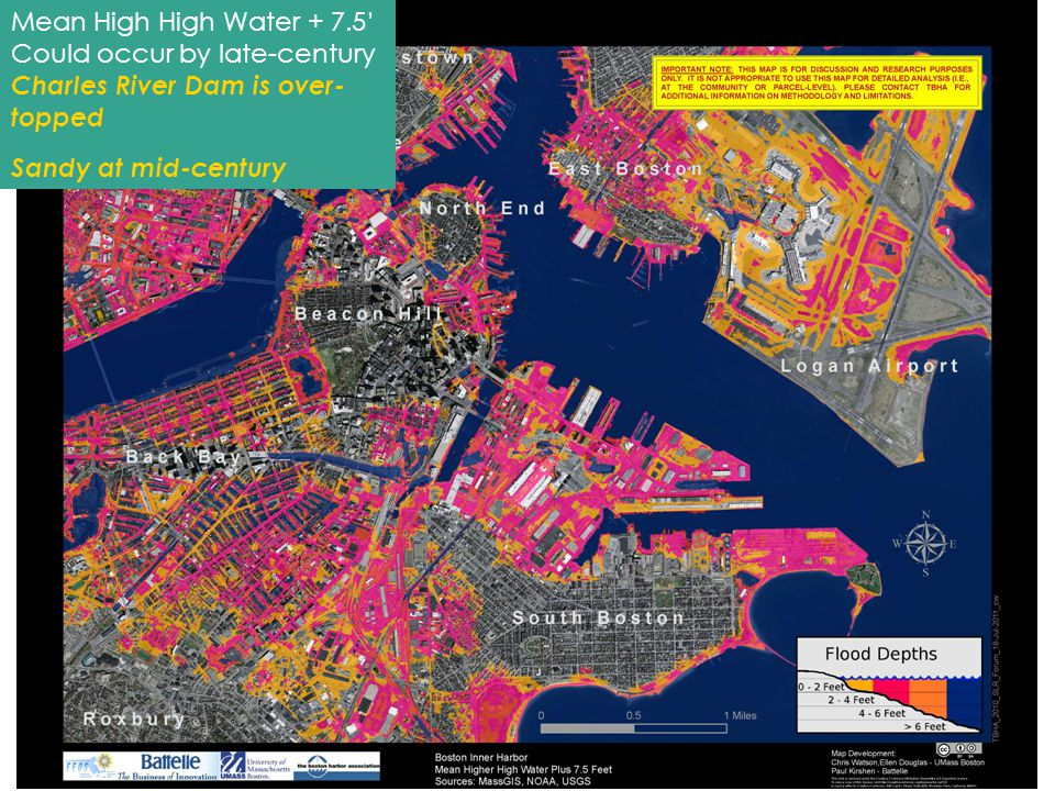 4 Mean High High Water + 7.5' Could occur by late-century Charles River Dam is over- topped Sandy at mid-century