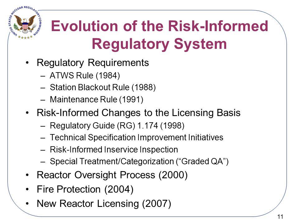 Evolution of the Risk-Informed Regulatory System 11 Regulatory Requirements –ATWS Rule (1984) –Station Blackout Rule (1988) –Maintenance Rule (1991) R