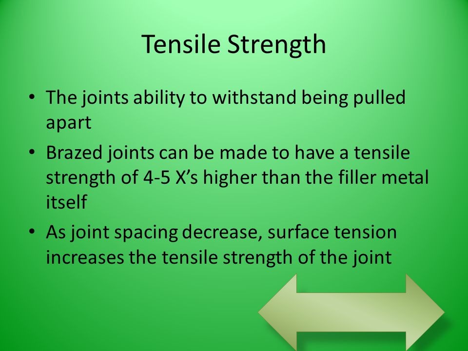 Tensile Strength The joints ability to withstand being pulled apart Brazed joints can be made to have a tensile strength of 4-5 X's higher than the fi