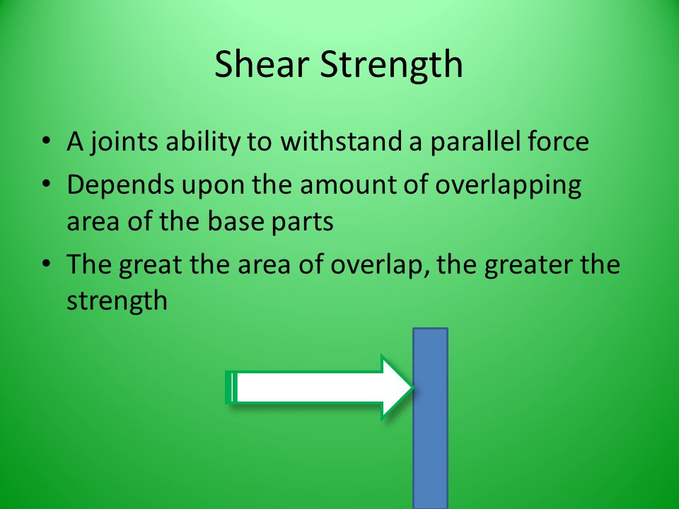 Shear Strength A joints ability to withstand a parallel force Depends upon the amount of overlapping area of the base parts The great the area of over
