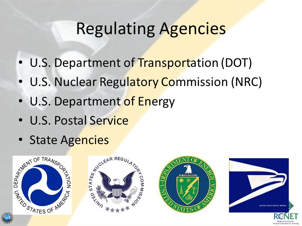 Regulating Agencies U.S. Department of Transportation (DOT) U.S. Nuclear Regulatory Commission (NRC) U.S. Department of Energy U.S. Postal Service Sta