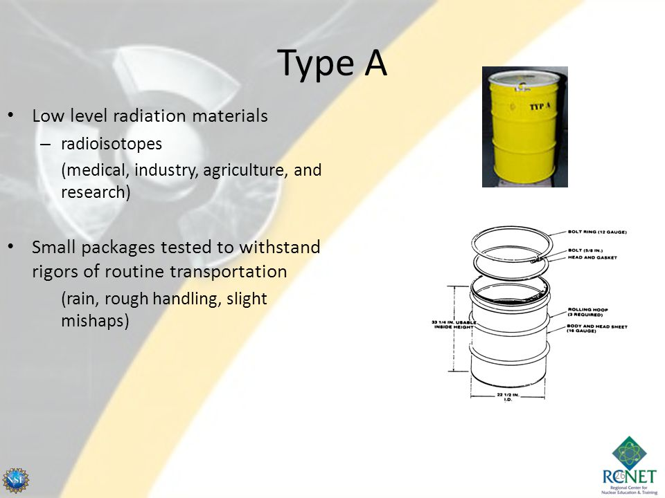 Type A 26 Low level radiation materials – radioisotopes (medical, industry, agriculture, and research) Small packages tested to withstand rigors of ro
