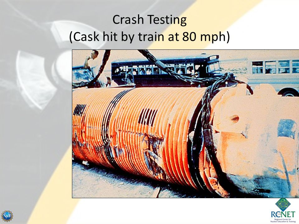 Crash Testing (Cask hit by train at 80 mph) 54
