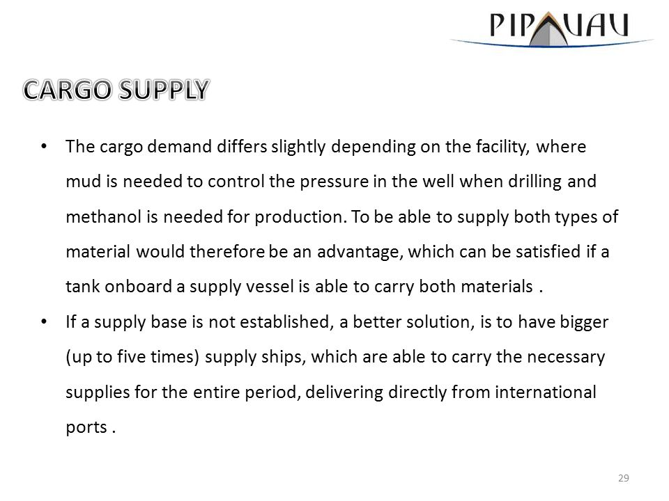 The cargo demand differs slightly depending on the facility, where mud is needed to control the pressure in the well when drilling and methanol is needed for production.