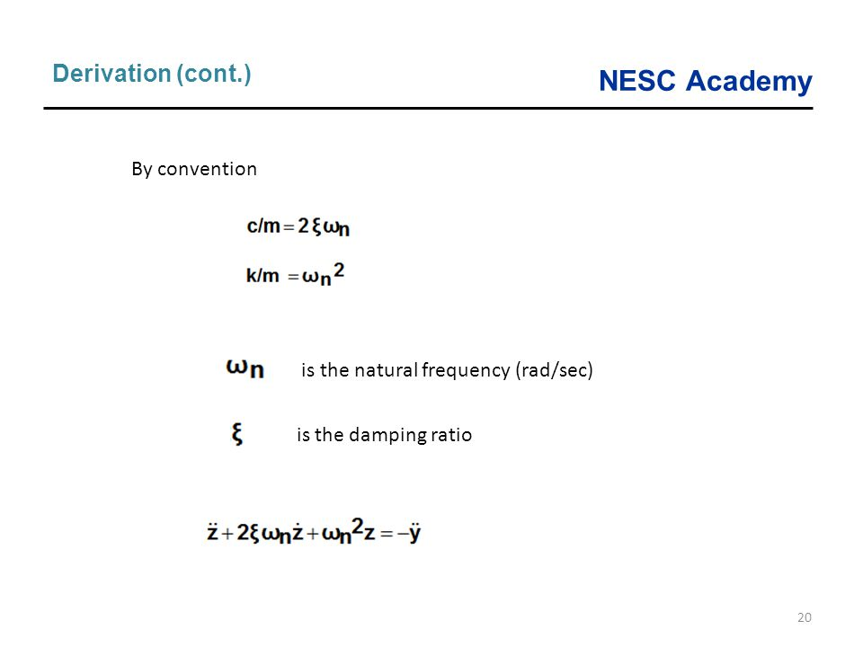 NESC Academy 20 Derivation (cont.) is the natural frequency (rad/sec) is the damping ratio By convention