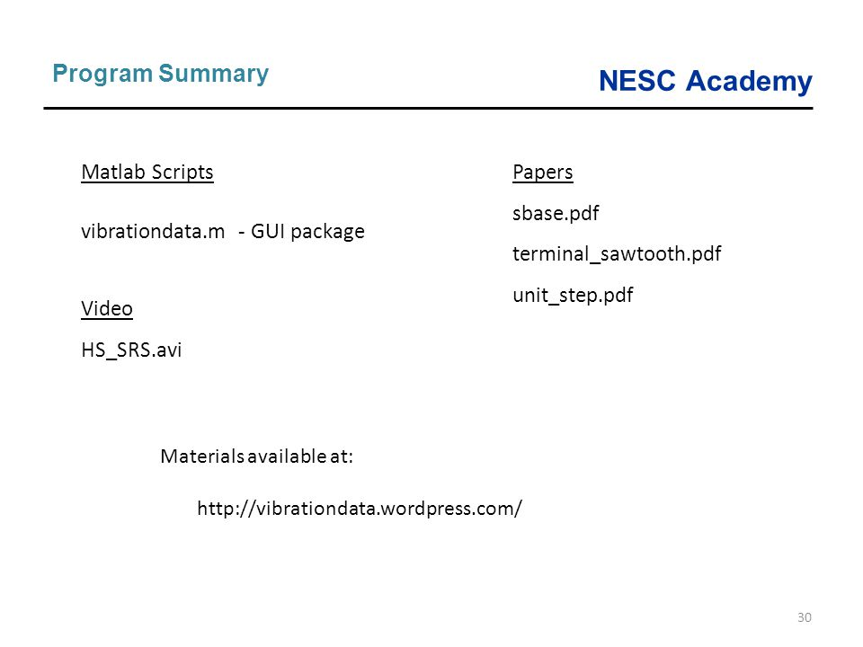 NESC Academy 30 Program Summary Matlab Scripts vibrationdata.m - GUI package Video HS_SRS.avi Papers sbase.pdf terminal_sawtooth.pdf unit_step.pdf Mat