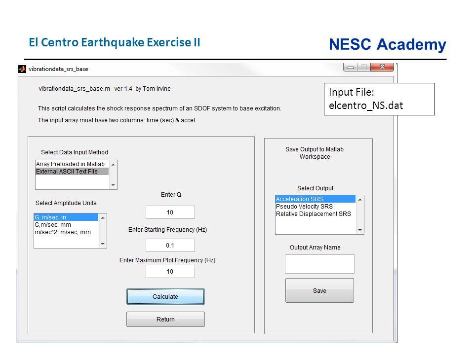 NESC Academy El Centro Earthquake Exercise II Input File: elcentro_NS.dat