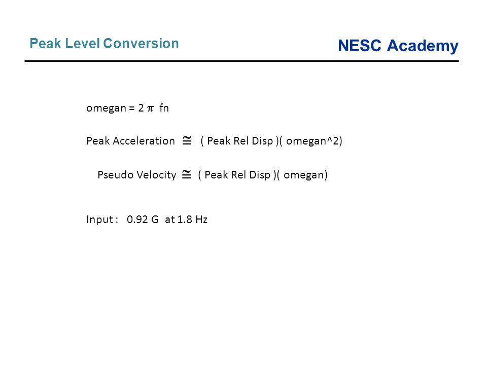 NESC Academy Peak Level Conversion omegan = 2  fn Peak Acceleration  ( Peak Rel Disp )( omegan^2) Pseudo Velocity  ( Peak Rel Disp )( omegan) Input