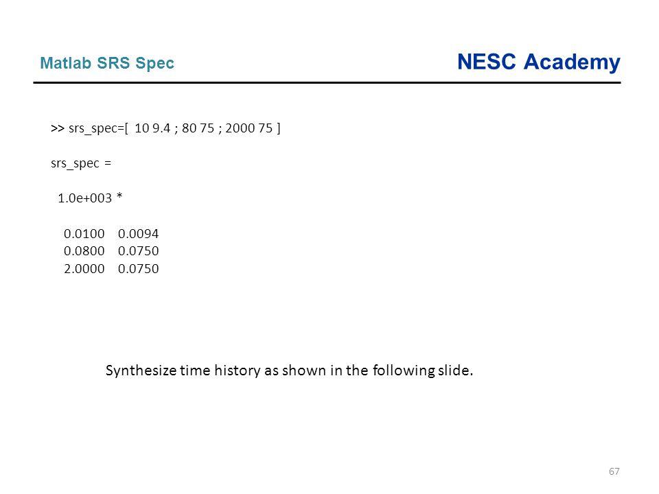NESC Academy 67 Matlab SRS Spec >> srs_spec=[ 10 9.4 ; 80 75 ; 2000 75 ] srs_spec = 1.0e+003 * 0.0100 0.0094 0.0800 0.0750 2.0000 0.0750 Synthesize ti