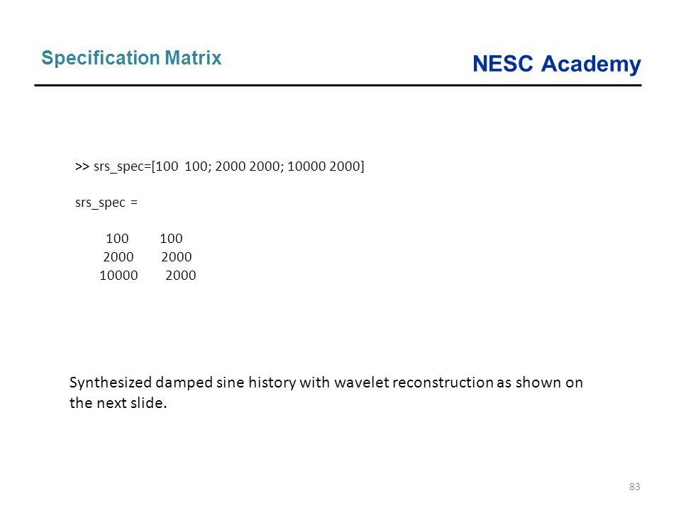 NESC Academy 83 Specification Matrix >> srs_spec=[100 100; 2000 2000; 10000 2000] srs_spec = 100 100 2000 2000 10000 2000 Synthesized damped sine hist