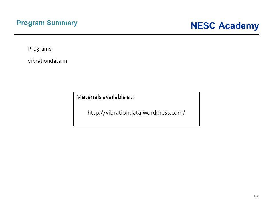 NESC Academy 96 Program Summary Programs vibrationdata.m Materials available at: http://vibrationdata.wordpress.com/