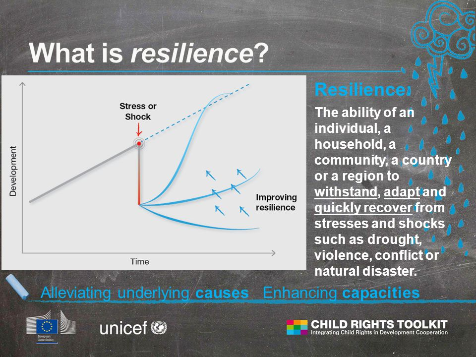 Resilience: The ability of an individual, a household, a community, a country or a region to withstand, adapt and quickly recover from stresses and shocks such as drought, violence, conflict or natural disaster.