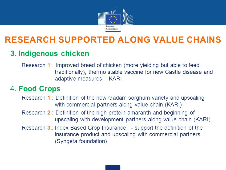 RESEARCH SUPPORTED ALONG VALUE CHAINS 3.