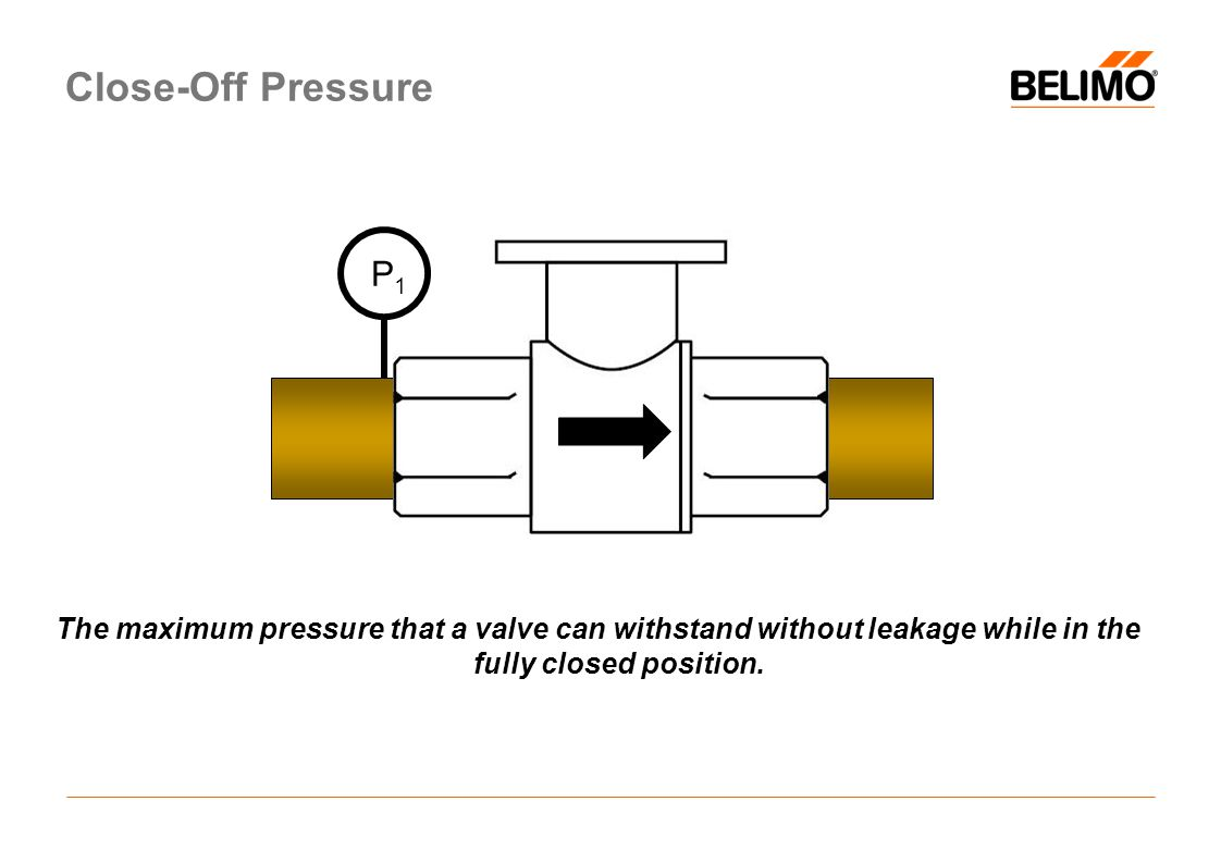 Close-Off Pressure The maximum pressure that a valve can withstand without leakage while in the fully closed position.
