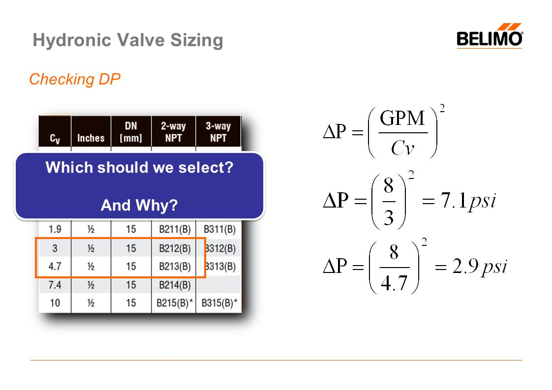 Hydronic Valve Sizing Checking DP Which should we select? And Why? Which should we select? And Why?