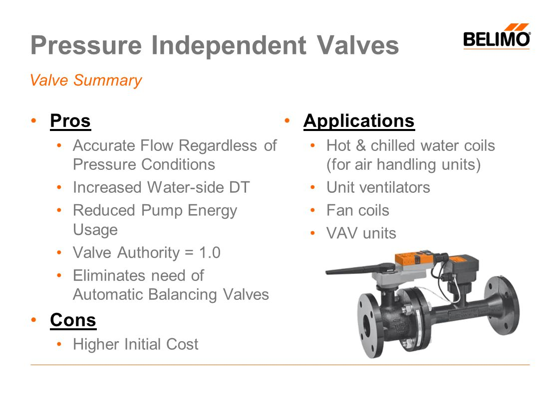 Pressure Independent Valves Pros Accurate Flow Regardless of Pressure Conditions Increased Water-side DT Reduced Pump Energy Usage Valve Authority = 1.0 Eliminates need of Automatic Balancing Valves Cons Higher Initial Cost Applications Hot & chilled water coils (for air handling units) Unit ventilators Fan coils VAV units Valve Summary