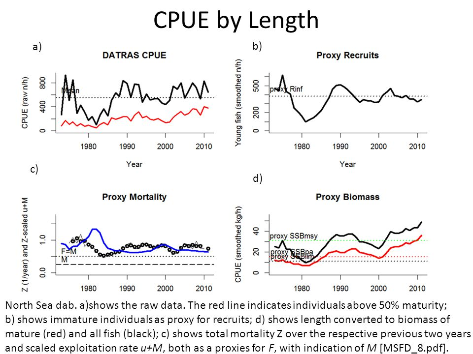 CPUE by Length North Sea dab. a)shows the raw data.