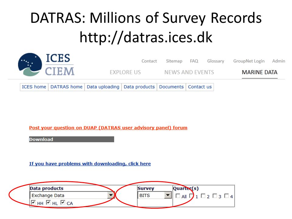 DATRAS: Millions of Survey Records http://datras.ices.dk