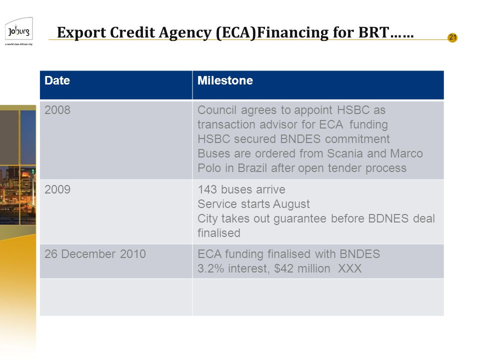 21 Export Credit Agency (ECA)Financing for BRT…… DateMilestone 2008Council agrees to appoint HSBC as transaction advisor for ECA funding HSBC secured BNDES commitment Buses are ordered from Scania and Marco Polo in Brazil after open tender process 2009143 buses arrive Service starts August City takes out guarantee before BDNES deal finalised 26 December 2010ECA funding finalised with BNDES 3.2% interest, $42 million XXX