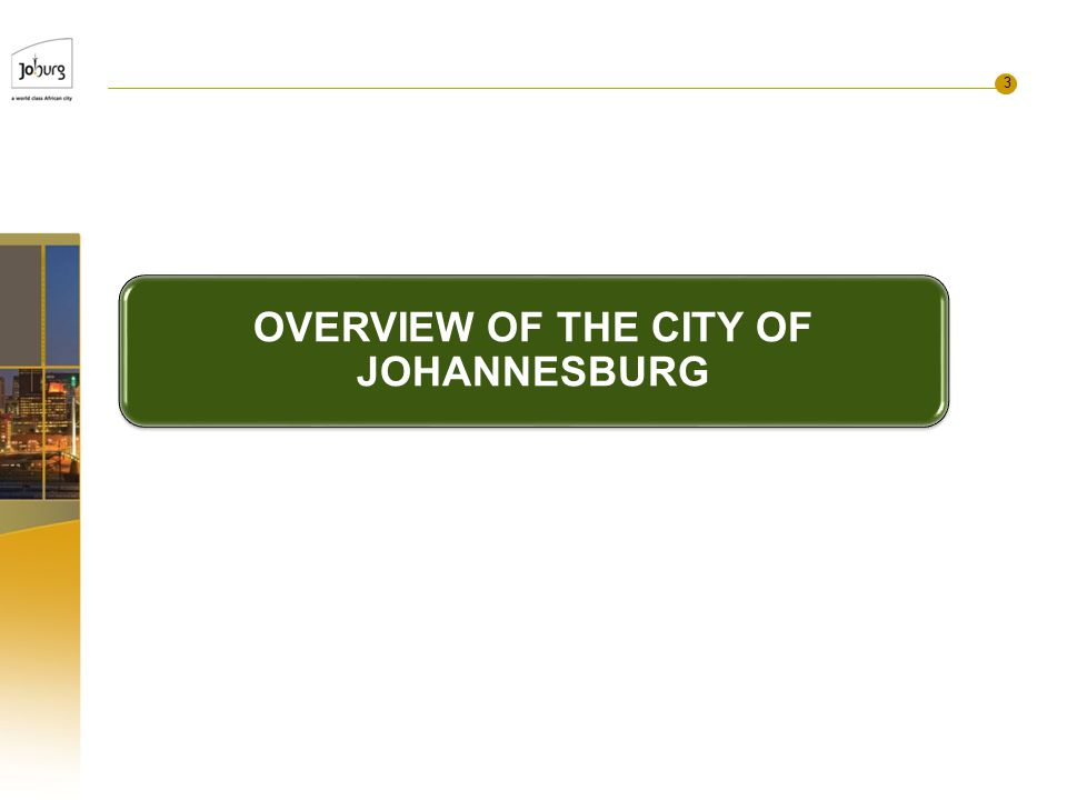 3 OVERVIEW OF THE CITY OF JOHANNESBURG