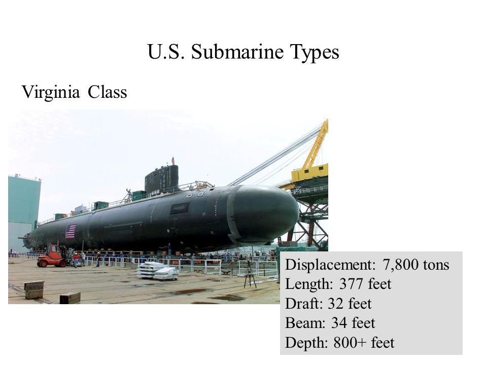 Virginia Class Displacement: 7,800 tons Length: 377 feet Draft: 32 feet Beam: 34 feet Depth: 800+ feet
