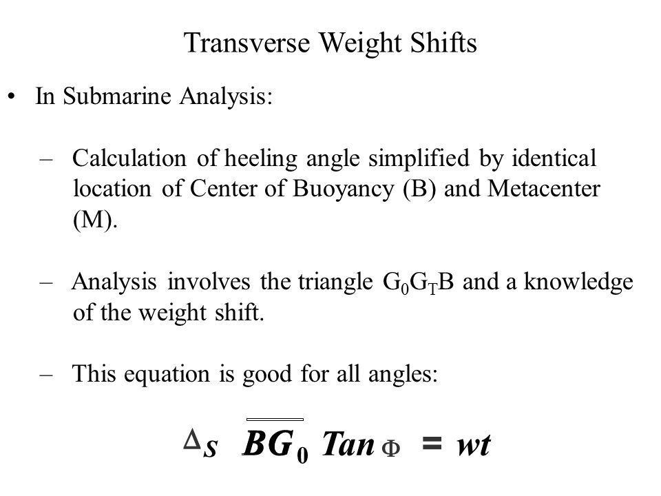 Transverse Weight Shifts In Submarine Analysis: – Calculation of heeling angle simplified by identical location of Center of Buoyancy (B) and Metacent