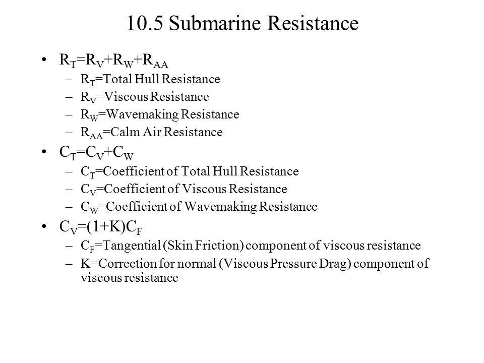 R T =R V +R W +R AA –R T =Total Hull Resistance –R V =Viscous Resistance –R W =Wavemaking Resistance –R AA =Calm Air Resistance C T =C V +C W –C T =Co