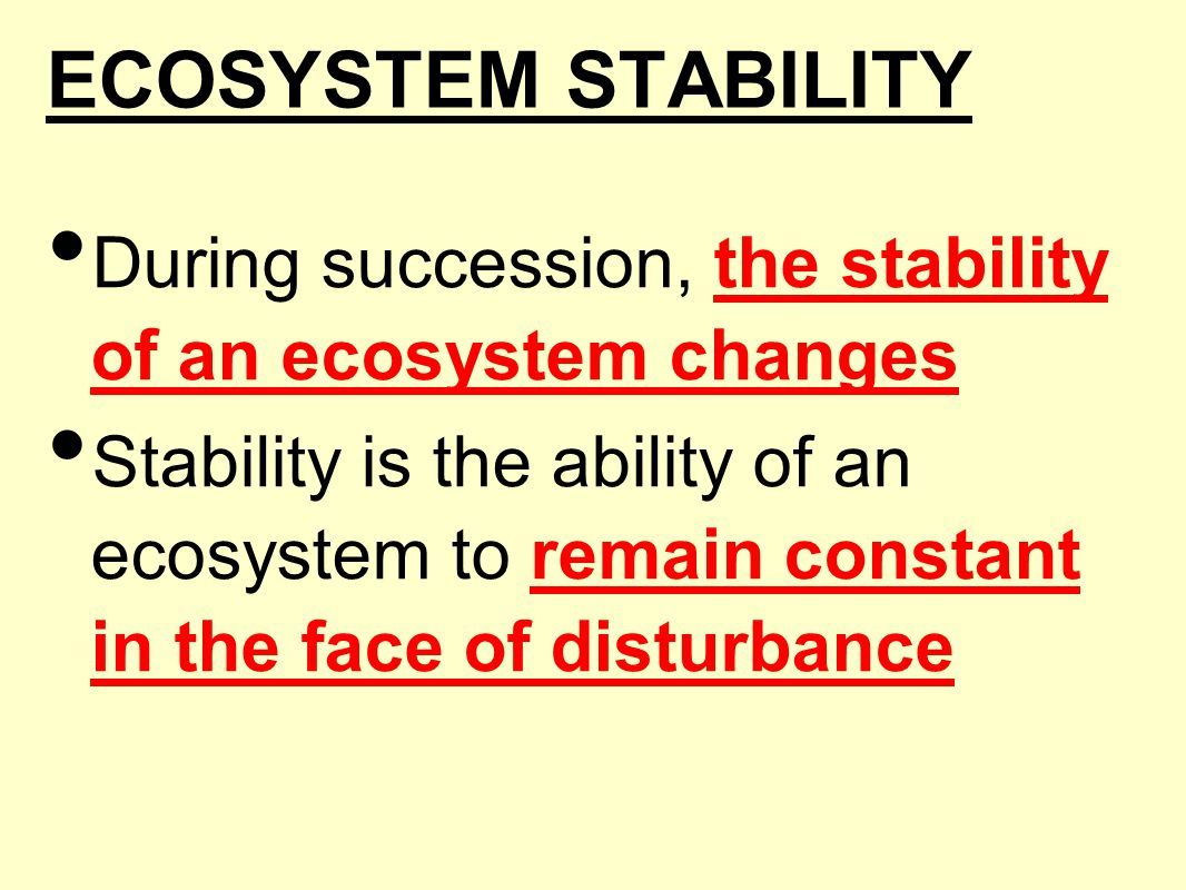 ECOSYSTEM STABILITY During succession, the stability of an ecosystem changes Stability is the ability of an ecosystem to remain constant in the face o
