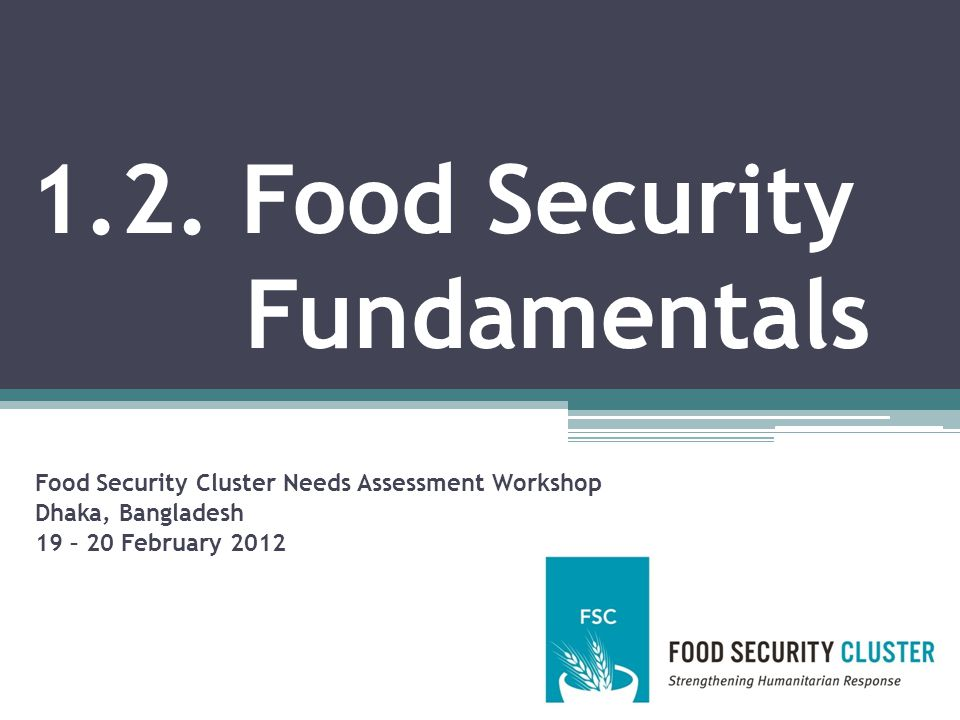 Session Objectives After this session, participants should be able to: Define a number of key food security concepts, including availability, access, utilisation, stability, livelihoods, coping, and resilience Explain the chief differences between chronic and transitory food insecurity Identify the key components of the food and nutrition security conceptual framework