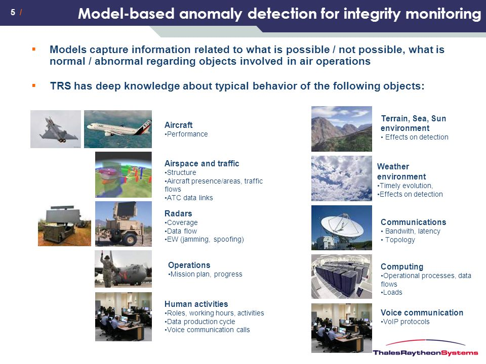 5 / Model-based anomaly detection for integrity monitoring  Models capture information related to what is possible / not possible, what is normal / a