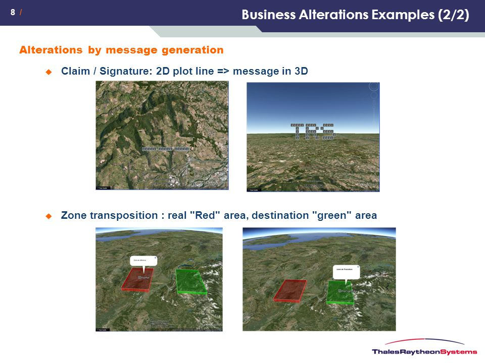 8 / Business Alterations Examples (2/2) Alterations by message generation  Claim / Signature: 2D plot line => message in 3D  Zone transposition : re