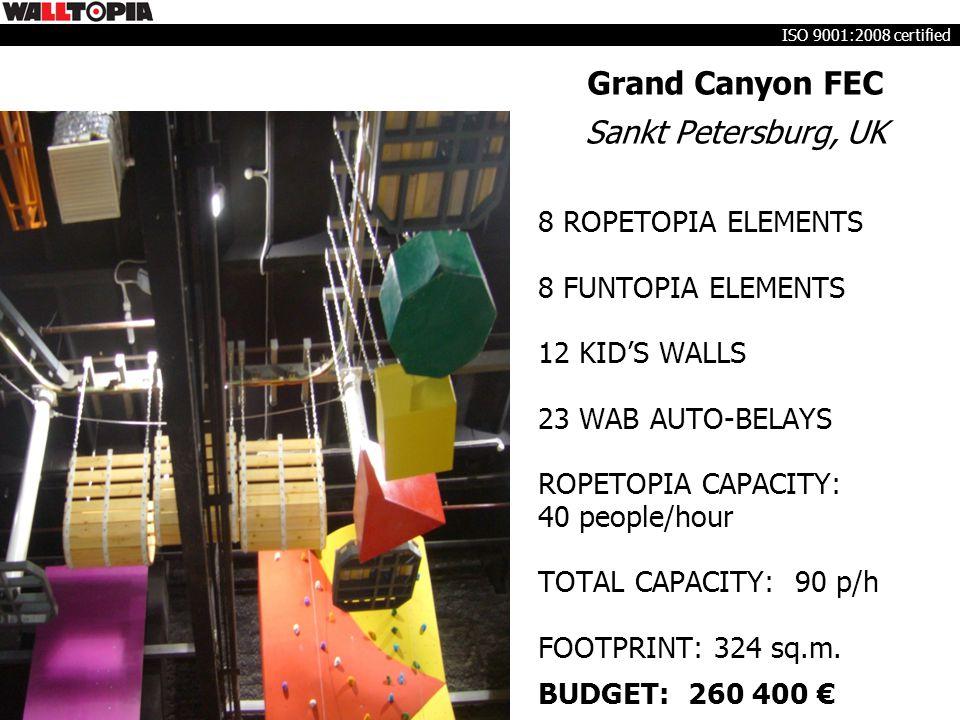Grand Canyon FEC Sankt Petersburg, UK 8 ROPETOPIA ELEMENTS 8 FUNTOPIA ELEMENTS 12 KID'S WALLS 23 WAB AUTO-BELAYS ROPETOPIA CAPACITY: 40 people/hour TOTAL CAPACITY: 90 p/h FOOTPRINT: 324 sq.m.
